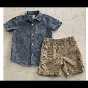 Carters baby boy dino short set